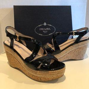 Prada Black Patent Leather wedge Sandals SZ 41